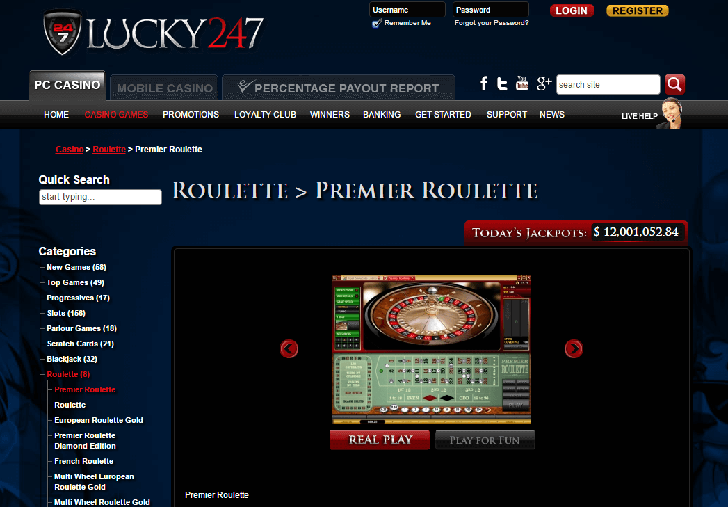 Lucky247 Casino - Premier Roulette