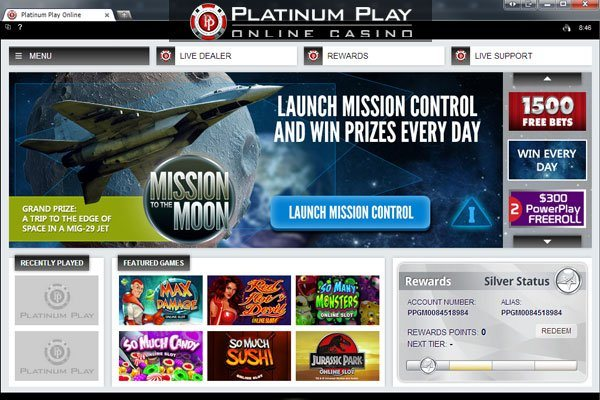 Platinum Play Casino - Homepage