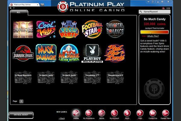 Platinum Play Casino - Lobby